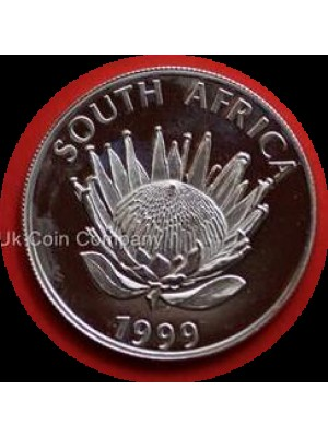 1999 South Africa Protea Flower Mine Tower Silver Bu Uncirculated 1 Rand Coin