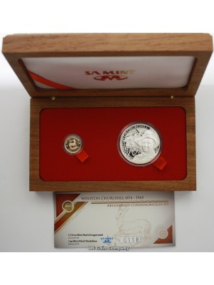 2015 South Africa Gold 1/10 Oz Krugerrand Winston Churchill Silver Medal Coin Set Limited Edition Of Only 250