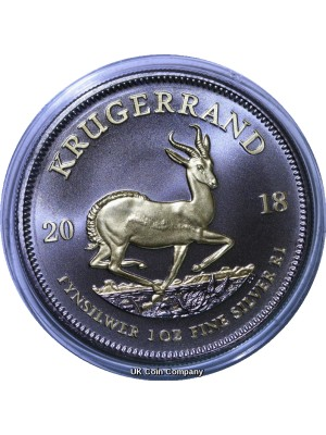 2018 South Africa Krugerrand Premium 1 oz Silver Black Ruthenium 24k Gold Coin -Specially Plated With 24k Gold And black Ruthenium