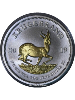 2019 South Africa Krugerrand Premium 1oz Pure Silver Coin With 24k Gold Plate