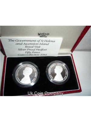 1984 Ascension Island & St Helena Silver Proof Piedfort Coin Set Box & Certificate very low mintage of only 500 worldwide