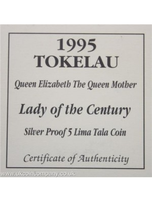 1995 TOKELAU 1oz SILVER  5 LIMA TALA PROOF CROWN COIN with certificate of authenticity