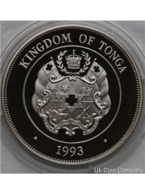 1993 Tonga Coronation Anniversary 1oz Silver Proof 1 Paanga Crown Coin with cert
