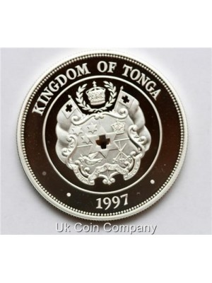 1997 Tonga Silver Gold Proof 2 Panga Crown Coin with cert