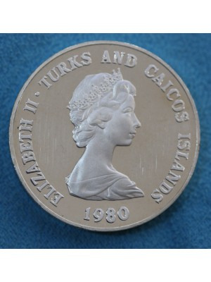 1980 Turks and Caicos Silver Proof Piedfort Coin Lord Mountbatten Low Mintage