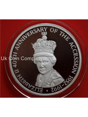 1993 Turks And Caicos 40th Anniversary Accession 20 Crowns Fine Silver Proof Coin