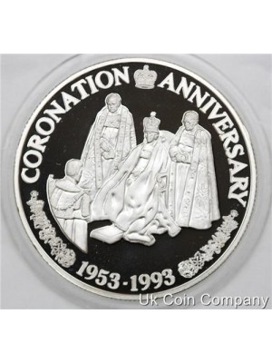 1993 Turks And Caicos Coronation Anniversary 20 Crowns Fine Silver Proof Coin