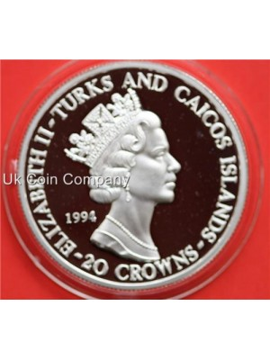 1994 Turks And Caicos Islands 50th Anniversary D-Day 20 Crowns Fine Silver Proof Coin