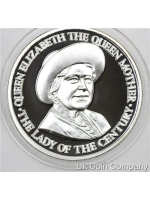 1995 Turks And Caicos The queen Mother 20 Crowns Fine Silver Proof Coin