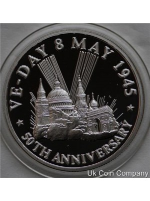 1995 Turks And Caicos Islands 50th Anniversary VE-Day 20 Crowns Fine Silver Proof Coin