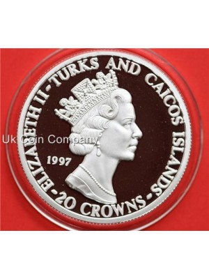 1997 Turks And Caicos Islands Lady of the Century 20 Crowns Fine Silver Proof Coin