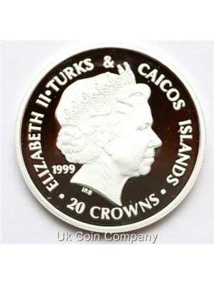 1999 Turks And Caicos The queen Mother 20 Crowns Fine Silver Proof Coin