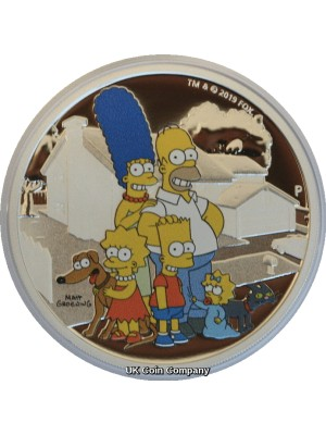 2019 Simpsons Family Tuvalu Two Ounce Silver Proof Dollar Coin Issued Perth Mint