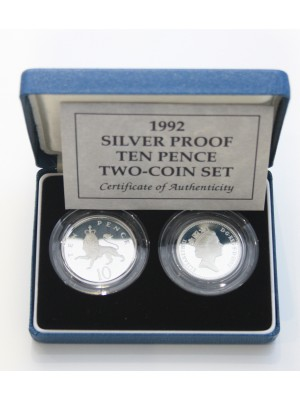 1992 Ten Pence Silver Proof Coin Set from Royal Mint Boxed