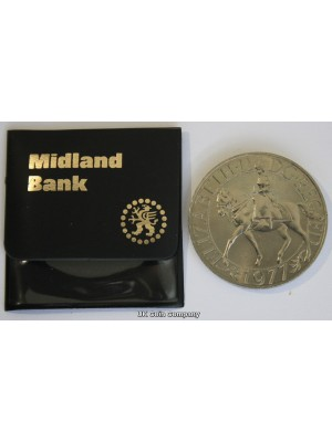 1977 Silver Jubilee Crown Coin In Midland Bank Pouch