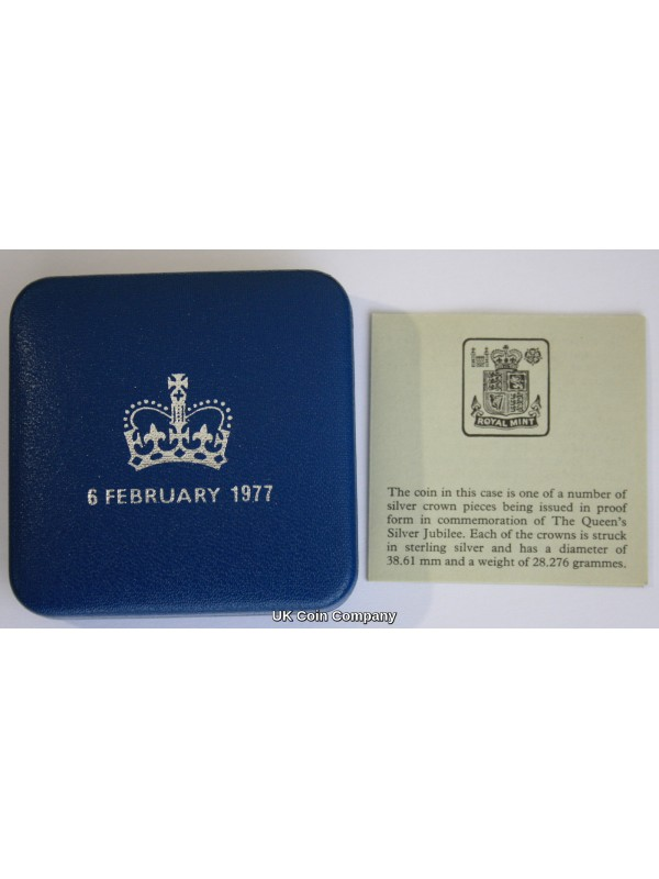 1977 Silver Proof Silver Jubilee Crown Coin Boxed with Certificate Of Authenticity