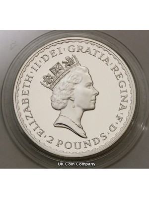 1997 Britannia Fine Silver Proof £2 Coin First Issue Presented In Original Royal Mint Box With COA