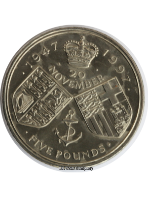 1997 Royal Mint Golden Wedding  BU £5 Five Pound Crown Coin