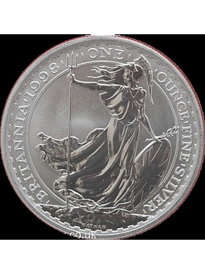 1998 royal mint britannia 1oz silver bu two pounds coin in capsule