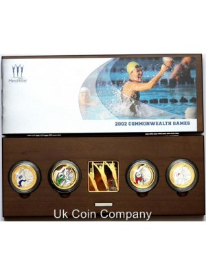 2002 Commonwealth Games Silver Proof Piedfort Four Coin Set Issued By The Royal Mint