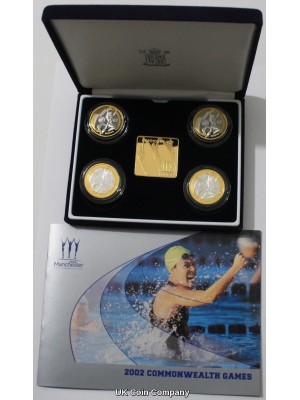2002 Commonwealth Games Silver Proof  Four Coin Set Issued By The Royal Mint