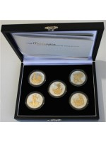 2006 Britannia Two Pounds Golden Silhouette Five Coin Collection 1 oz Fine Silver Proof Coins Issued By The Royal Mint