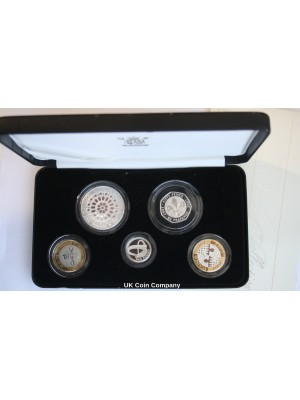 2007 Piedfort Silver Proof Royal Mint 5 Coin Set