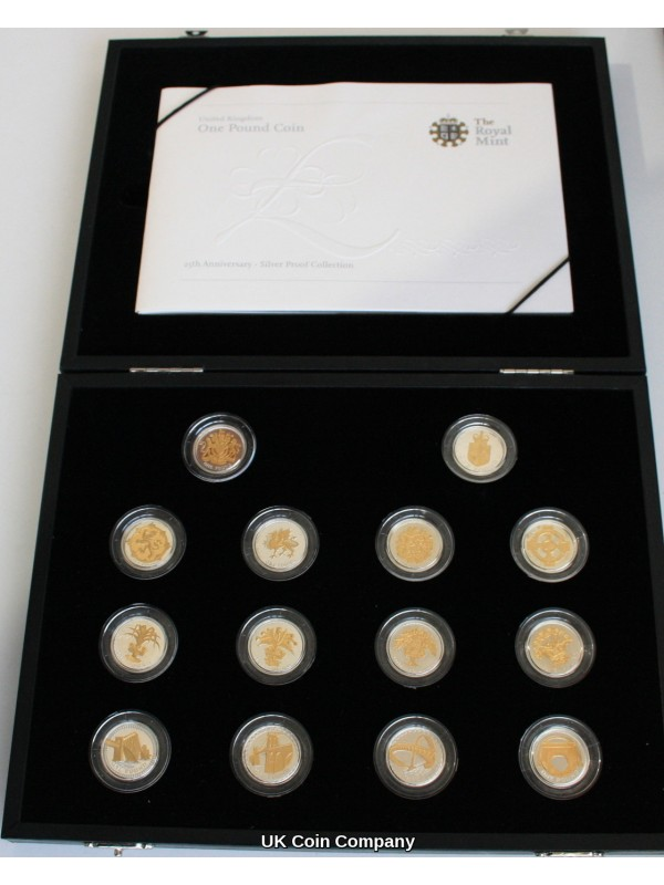 2008 Gold Silhouette Royal Mint 25th Anniversarry £1 Silver Proof 14 Coin Set
