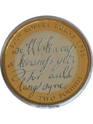2009 Robert Burns £2 Two Pound Silver Proof Royal Mint Coin Boxed With Certificate of Authenticity