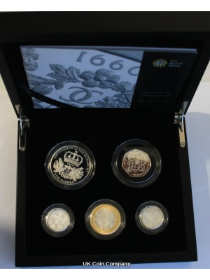 2010 United Kingdom Royal Mint Silver Proof Celebration 5 Coin Set With London And Belfast £1 Coins