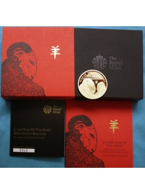 2015 United Kingdom 1oz Silver Gold proof £2 Coin Lunar Year Of The Sheep Royal Mint Boxed COA