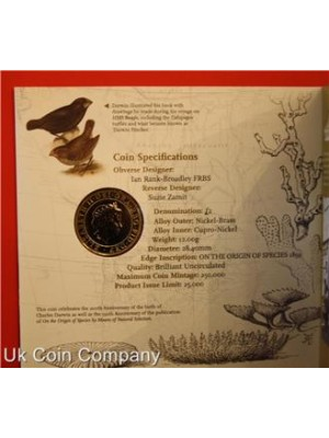 2009 Charles Darwin 200th Anniversary £2 Brilliant Uncirculated Coin Pack By The Royal Mint