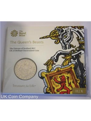 2017 Unicorn Of Scotland BU £5 Five Pound Coin Pack By The Royal Mint