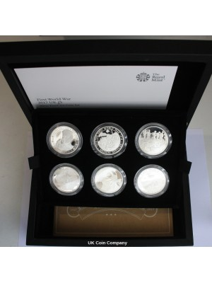 2017 The First World War £5 Silver Proof 6 Coin Set Issued By British Royal Mint