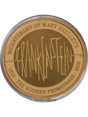 2018 Mary Shelleys Frankenstein £2 Solid 22 Carat Gold Proof Royal Mint Coin Only 400 Minted