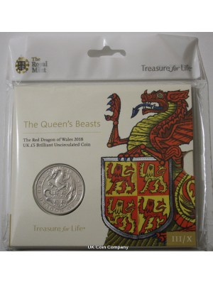 2018 Queens Beasts Dragon Of Wales BU £5 Five Pound Royal Mint Coin Pack Sealed