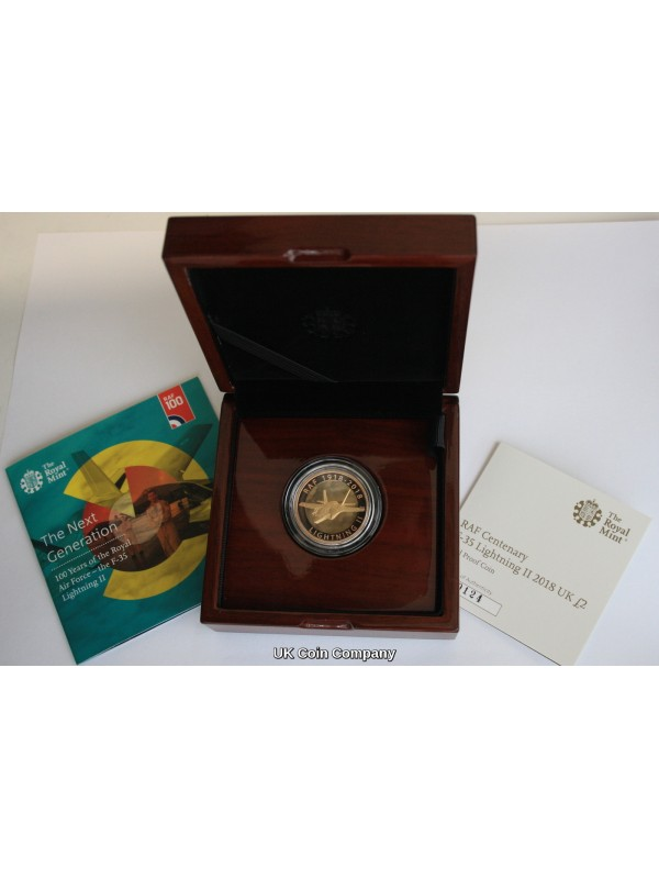 2018 RAF Centenary F 35 Lightning £2 Solid Gold Proof Royal Mint Coin