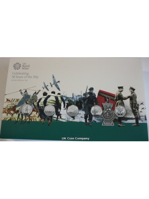 2019 Royal Mint United Kingdom British Military Celebrating 50 Years Of The 50p Silver Proof Coin Set