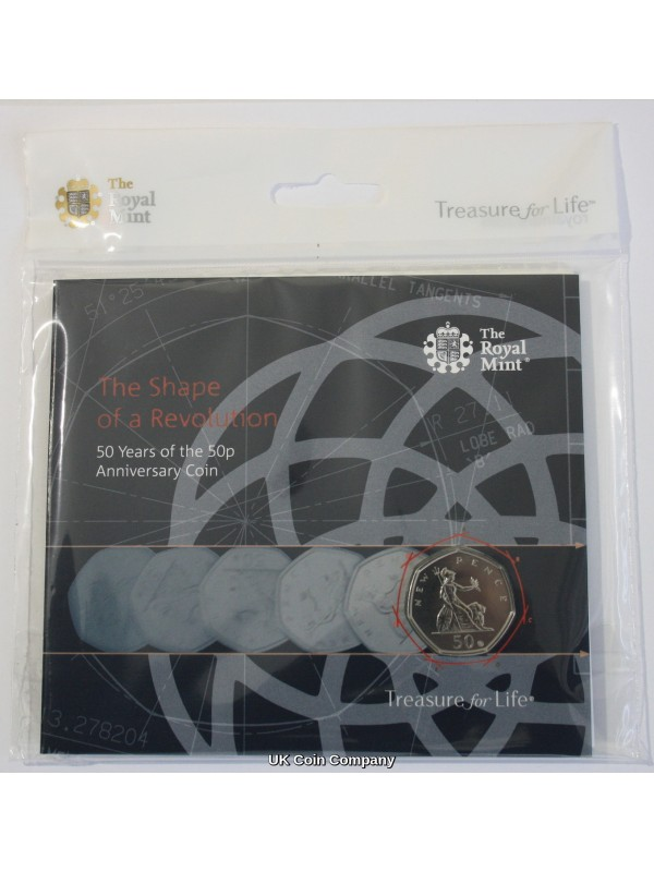 2019 50 Years of The 50p Royal Mint Britannia Fifty Pence With Privy Coin Pack