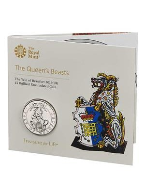 2019 The Yale Of Beaufort Queens Beasts Brilliant Uncirculated £5 Five Pound Royal Mint Coin Pack