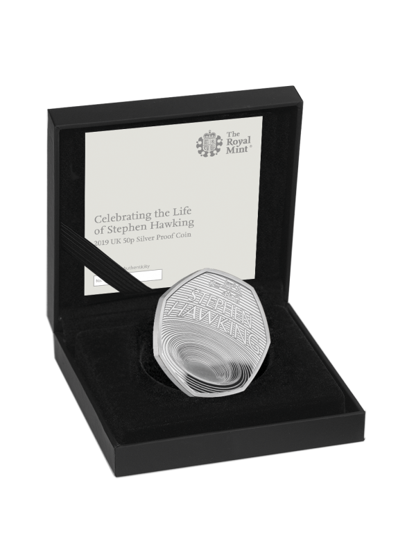 2019 Stephen Hawkings Royal Mint Silver Proof 50p Fifty Pence Coin