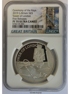 2019 Tower Of London Ceremony Of The Keys Silver Proof £5 First Releases NGC PF70 Ultra Cameo Coin