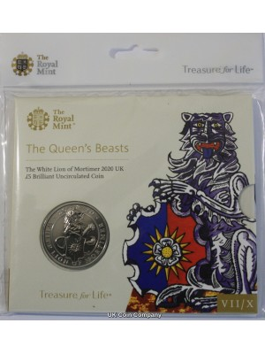 2020 White Lion Of Mortimer Queens Beasts Brilliant Uncirculated £5 Five Pound Royal Mint Coin Pack