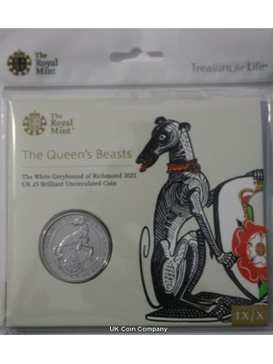 2020 White Greyhound Of Richmond Queens Beasts Brilliant Uncirculated £5 Five Pound Royal Mint Coin Pack