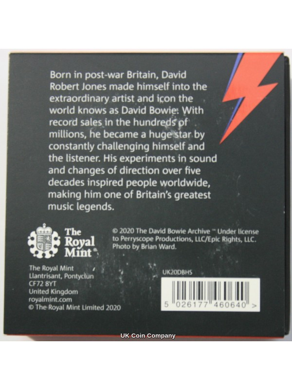 2020 David Bowie Silver Proof £1 Royal Mint Coin Limited Edition Presentation Of Only 12,500