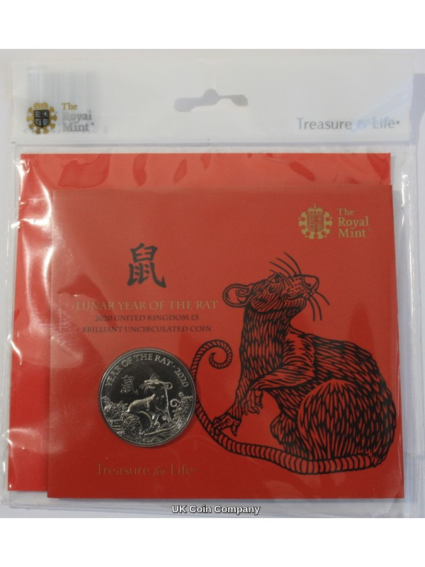 2020 Lunar Year Of The Rat Brilliant Uncirculated £5 Five Pound Royal Mint Coin Pack