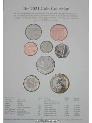 2021 United Kingdom Brilliant Uncirculated Annual Coin Set Issued By The Royal Mint