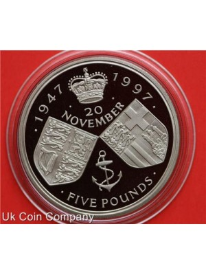 1997 Royal Mint Royal Wedding  Silver Proof £5 Five Pound Crown Coin