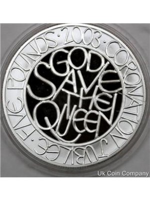 2003 united kingdom corronation jubilee silver £5 five pound proof crown coin
