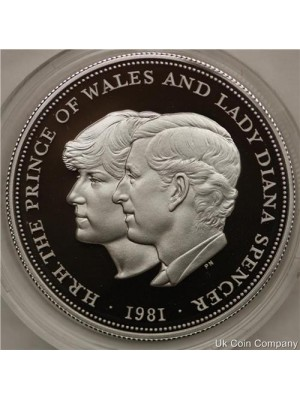 1981 British Commemorative Charles Diana Silver Proof Crown Coin